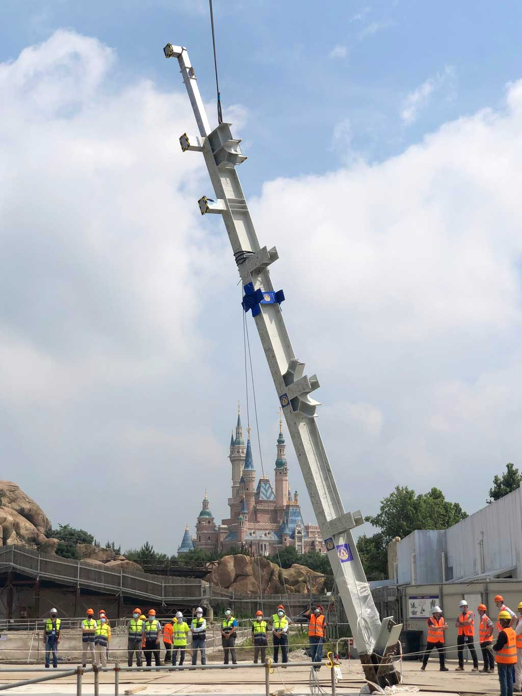 The first steel column was installed this morning, filled with thousands of Cast Members' and Imagineers' signatures