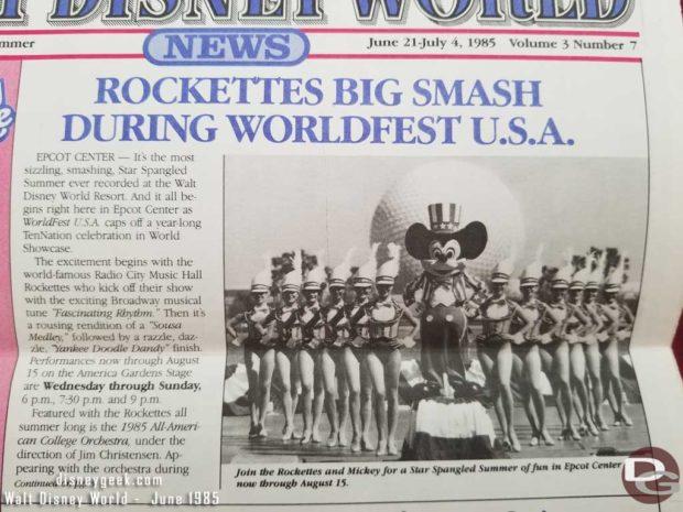 Walt Disney World News Publication for June 21-July 4, 1985