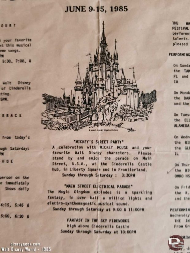 Magic Kingdom Entertainment Program for June 9-15, 1985
