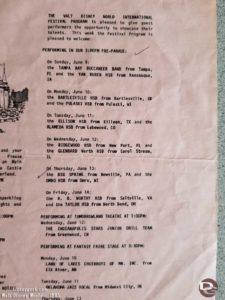 Magic Kingdom Entertainment Program for June 9-15, 1985