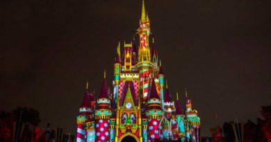 Walt Disney World Resort in Lake Buena Vista, Fla., will reimagine its holiday celebration this year. From Nov. 6 to Dec. 30, when night falls at Magic Kingdom Park, projection effects will transform Cinderella Castle with a kaleidoscope of holiday-themed designs. (David Roark, photographer)