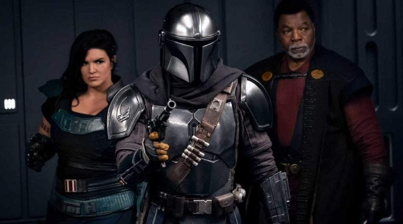 (Left to right) Gina Carano is Cara Dune, Pedro Pascal is the Mandalorian and Carl Weathers is Greef Karga in THE MANDALORIAN, season two, exclusively on Disney+