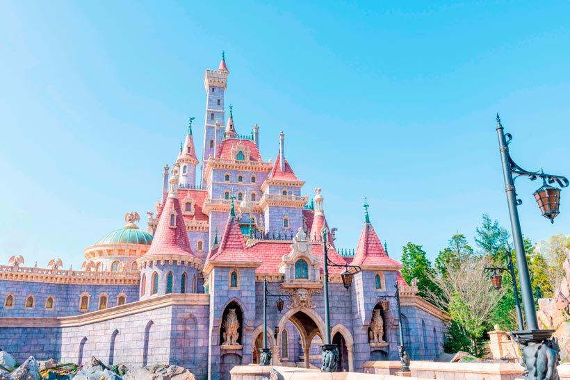 Beauty and the Beast Castle rises above the new area of Fantasyland.