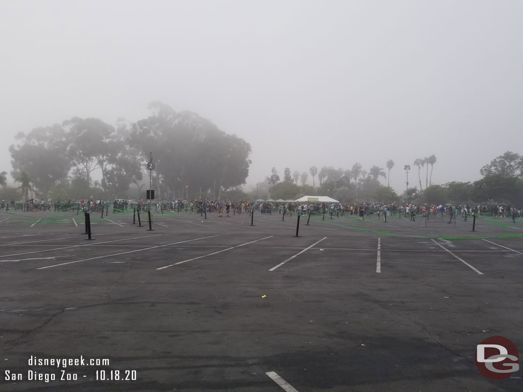 The scene in the San Diego Zoo Parking lot when we around around 8:30am, about 30 minutes prior to the gates opening.