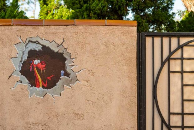 During the Taste of EPCOT International Festival of the Arts at Walt Disney World Resort in Lake Buena Vista, Fla., guests can find chalk drawings of Disney characters in special and surprising locations throughout World Showcase. (Matt Stroshane, photographer)