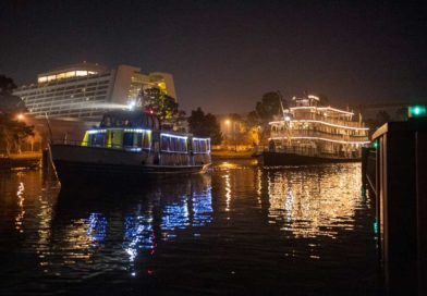 The Liberty Belle riverboat crosses the water bridge connecting Bay Lake and Seven Seas Lagoon near Disney's Contemporary Resort at Walt Disney World Resort in Lake Buena Vista, Fla. The boat was repositioned overnight following a nearly complete four-month scheduled refurbishment of Rivers of America, which sent the classic paddle wheeler to dry dock behind Magic Kingdom Park. (David Roark, photographer)