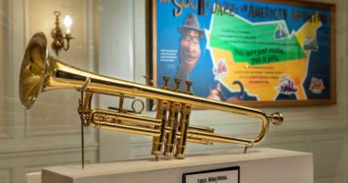 """The Soul of Jazz: An American Adventure"" debuts Feb. 1, 2021, at The American Adventure inside EPCOT at Walt Disney World Resort in Lake Buena Vista, Fla. This new exhibit features artifacts from renowned jazz musicians, including Louis Armstrong's trumpet (pictured). (Kent Phillips, photographer)"