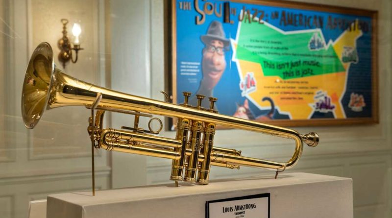 """""""The Soul of Jazz: An American Adventure"""" debuts Feb. 1, 2021, at The American Adventure inside EPCOT at Walt Disney World Resort in Lake Buena Vista, Fla. This new exhibit features artifacts from renowned jazz musicians, including Louis Armstrong's trumpet (pictured). (Kent Phillips, photographer)"""