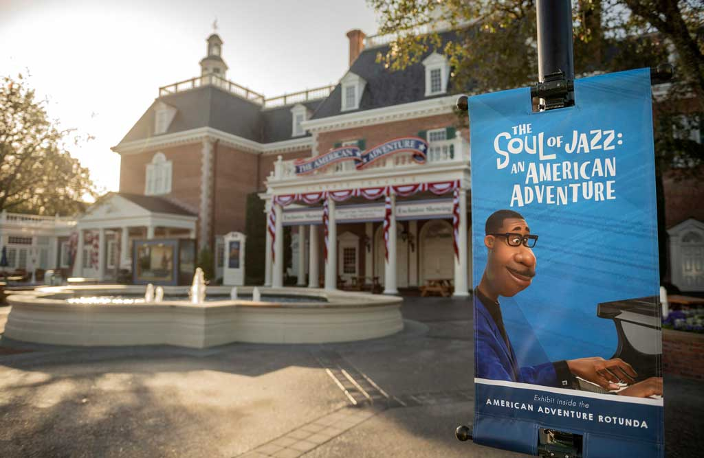 """""""The Soul of Jazz: An American Adventure"""" debuts Feb. 1, 2021, at The American Adventure inside EPCOT at Walt Disney World Resort in Lake Buena Vista, Fla. This new exhibit features Joe Gardner, the musician, mentor and teacher from """"Soul,"""" as he shares the rich and surprising history of jazz from several influential cities. (Kent Phillips, photographer)"""