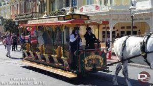 Winnie the Pooh Characters on Main Street Trolley in Magic Kingdom