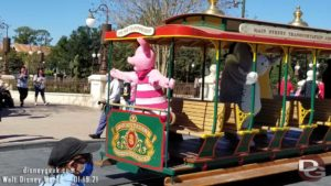 Winnie the Pooh Characters on Main Street Trolley in Magic Kingdom