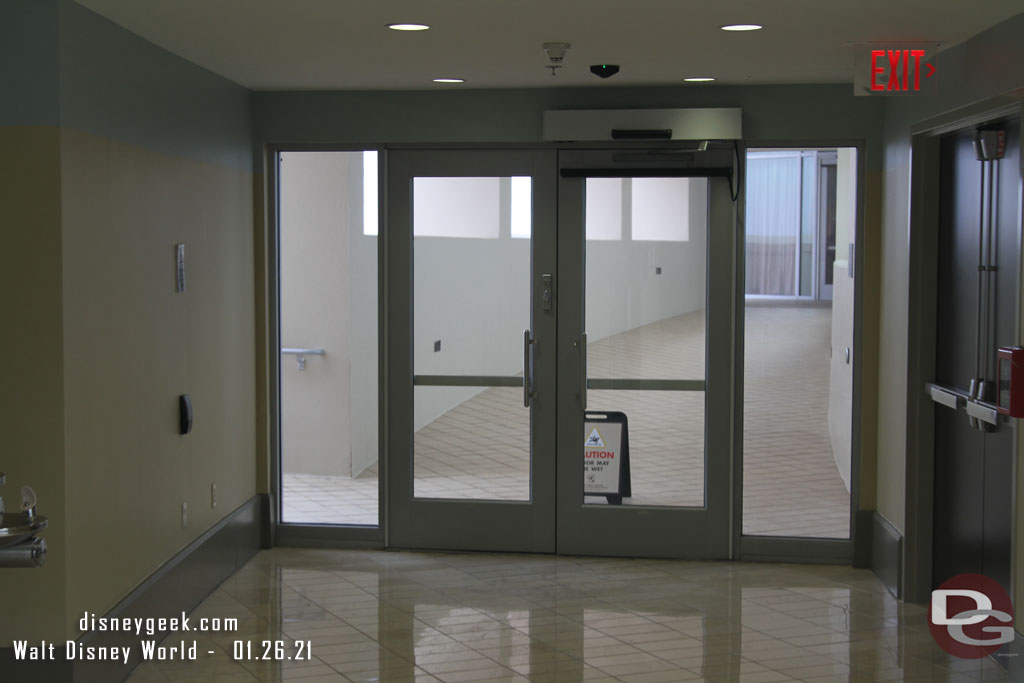 Doors leading to the Top of the World Lounge and Viewing Terrace on the 16th Floor of Bay Lake Tower