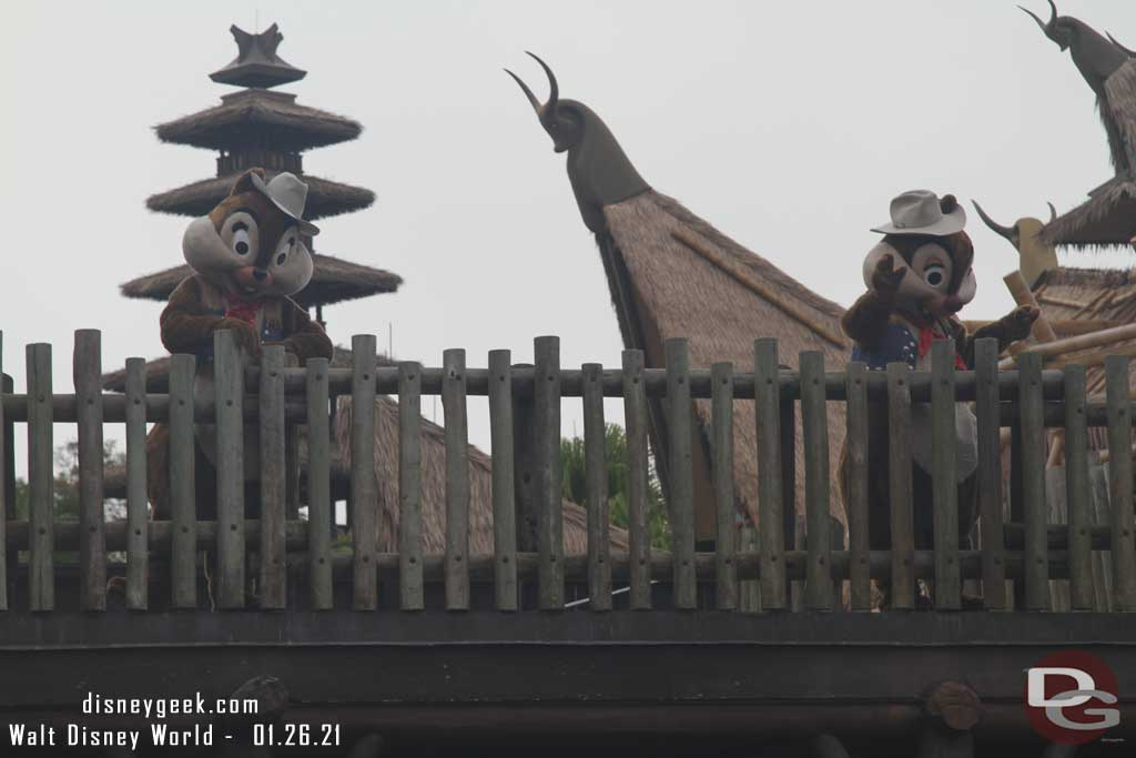 Chip and Dale Greeting Guests in Frontierland