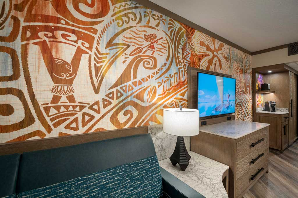 """Next Reimagined guest rooms inside Disney's Polynesian Village Resort at Walt Disney World Resort in Lake Buena Vista, Fla., feature details, patterns and textures from the hit Walt Disney Animation Studios film """"Moana,"""" including characters and other references to the story. The resort, part of the Disney Resorts Collection at Walt Disney World, is now accepting bookings for late July 2021. (Kent Phillips, photographer) Reimagined guest rooms inside Disney's Polynesian Village Resort at Walt Disney World Resort in Lake Buena Vista, Fla., feature details, patterns and textures from the hit Walt Disney Animation Studios film """"Moana,"""" including characters and other references to the story. The resort, part of the Disney Resorts Collection at Walt Disney World, is now accepting bookings for late July 2021. (Kent Phillips, photographer)"""
