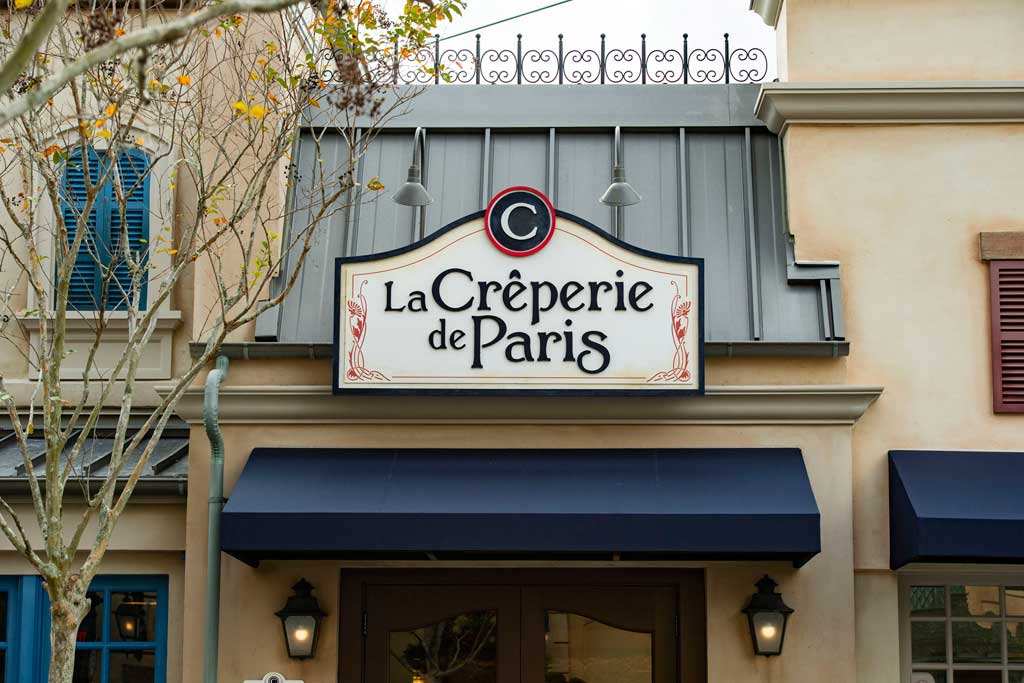 The grand opening of La Crêperie de Paris is set for Oct. 1, 2021, in a newly expanded area of the France pavilion at EPCOT at Walt Disney World Resort in Lake Buena Vista, Fla. Offering both table- and quick-service options, the restaurant's menu will feature sweet crepes, savory buckwheat galettes (naturally gluten friendly) and authentic French hard cider. (Matt Stroshane, photographer)