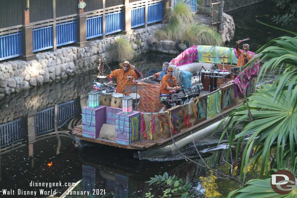 WDW Animal Kingdom - Character Flotilla Jan 2021 - Discovery Island Drummers Flotilla