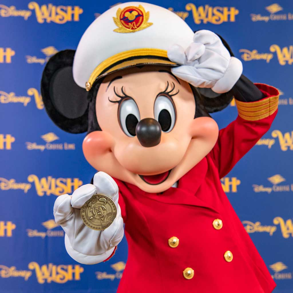 The commemorative coin created for the Disney Wish features Captain Minnie, who made her debut aboard Disney Cruise Line ships in 2019 as part of a collection of initiatives aiming to inspire the next generation of female leaders in the maritime industry. (Matt Stroshane, photographer)