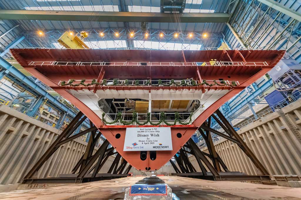 Disney Cruise Line reached a significant construction milestone marked by the traditional keel laying ceremony of the Disney Wish, the first of three new ships in the line's fleet expansion. (Robert Fiebak, photographer)