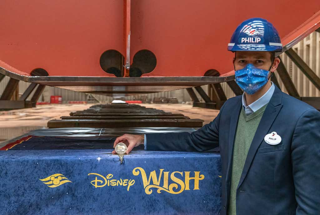 Philip Gennotte, portfolio project management executive, Walt Disney Imagineering Germany took part in the keel laying ceremony for the Disney Wish at Meyer Werft in Papenburg, Germany. (Robert Fiebak, photographer)