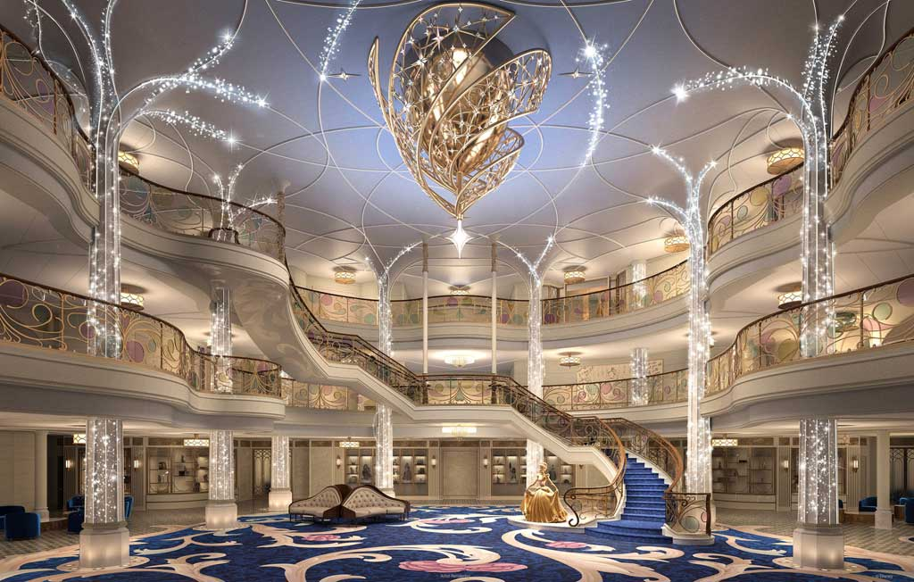 Aboard the Disney Wish, the Grand Hall will come to life every evening with dramatic show lighting, glittering trails of pixie dust and shimmering chandelier effects. This fairytale-inspired atrium will be the enchanted gateway to everything that awaits on board the ship: fairytale worlds, heroic challenges, epicurean indulgences, thrilling adventures, galactic encounters, peaceful escapes and so much more. (Disney)