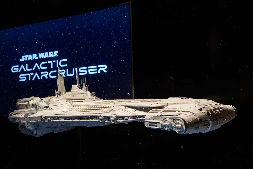 A model of the Halcyon starcruiser is viewable by guests for a limited time in Disney's Hollywood Studios at Walt Disney (David Roark, photographer)