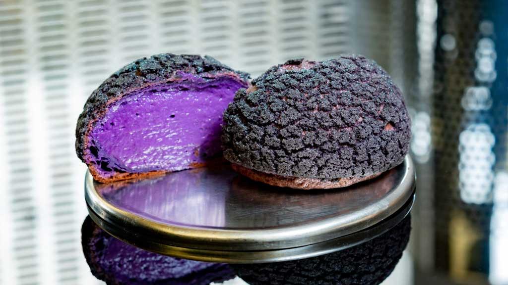 Cosmic Cream Orb, a crispy cream puff with whipped raspberry cheesecake mousse. (David Nguyen/Disneyland Resort)