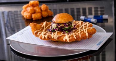 Experiment No. EE90: Not So Little Chicken Sandwich features a fried chicken breast with teriyaki and red chili sauces, pickled cabbage slaw and crispy potato tots. (David Nguyen/Disneyland Resort)