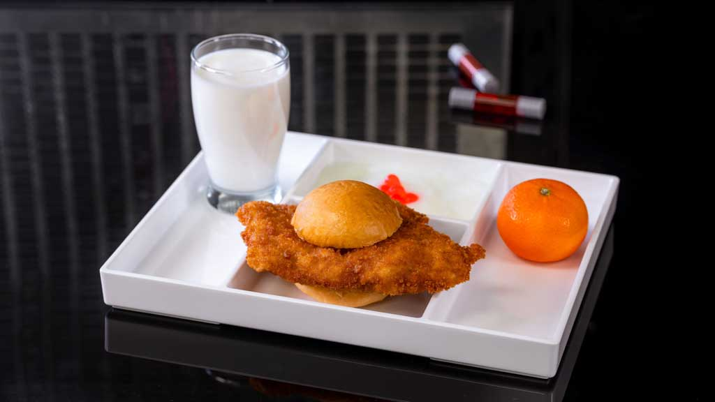 Subatomic Chicken Sandwich features crispy breaded chicken breast on a soft roll. (David Nguyen/Disneyland Resort)
