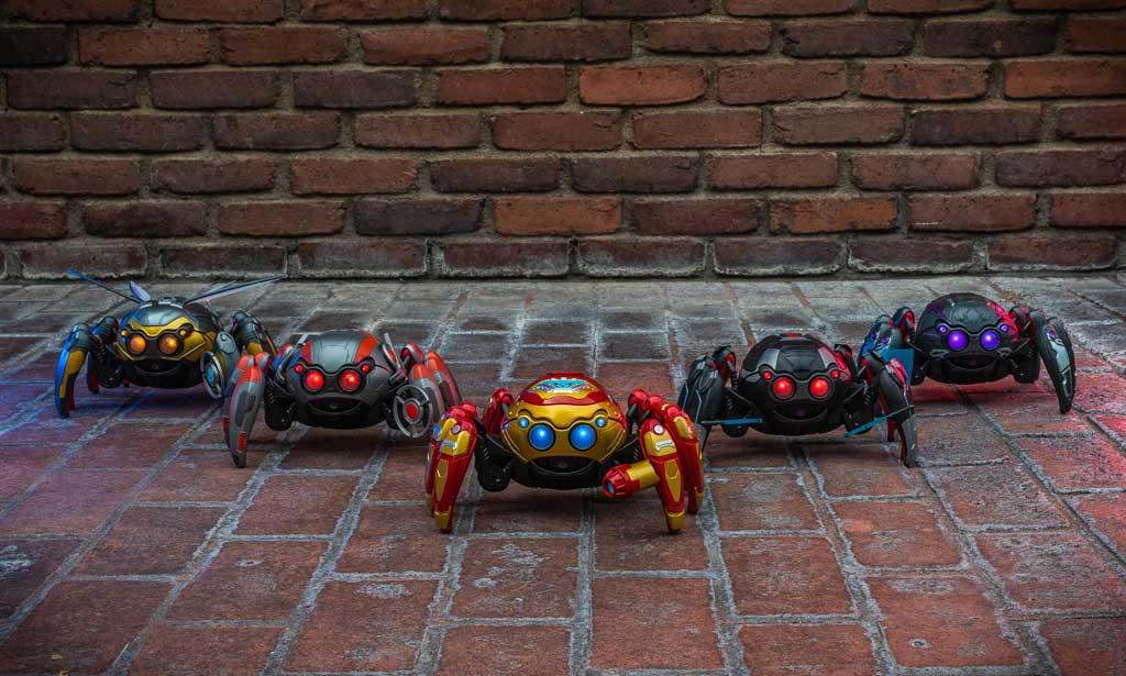 Guests visiting Avengers Campus at Disney California Adventure Park, will find the latest Super Hero gadgets at the WEB Suppliers store. Pictured here, interactive Spider-Bots, much like the ones seen throughout Avengers Campus, are powered by a remote control with eight articulated legs that move forward and backward. Guests may customize their Spider-Bot with tactical upgrades to harness the powers and style of some of their favorite Super Heroes. (Christian Thompson/Disneyland Resort)