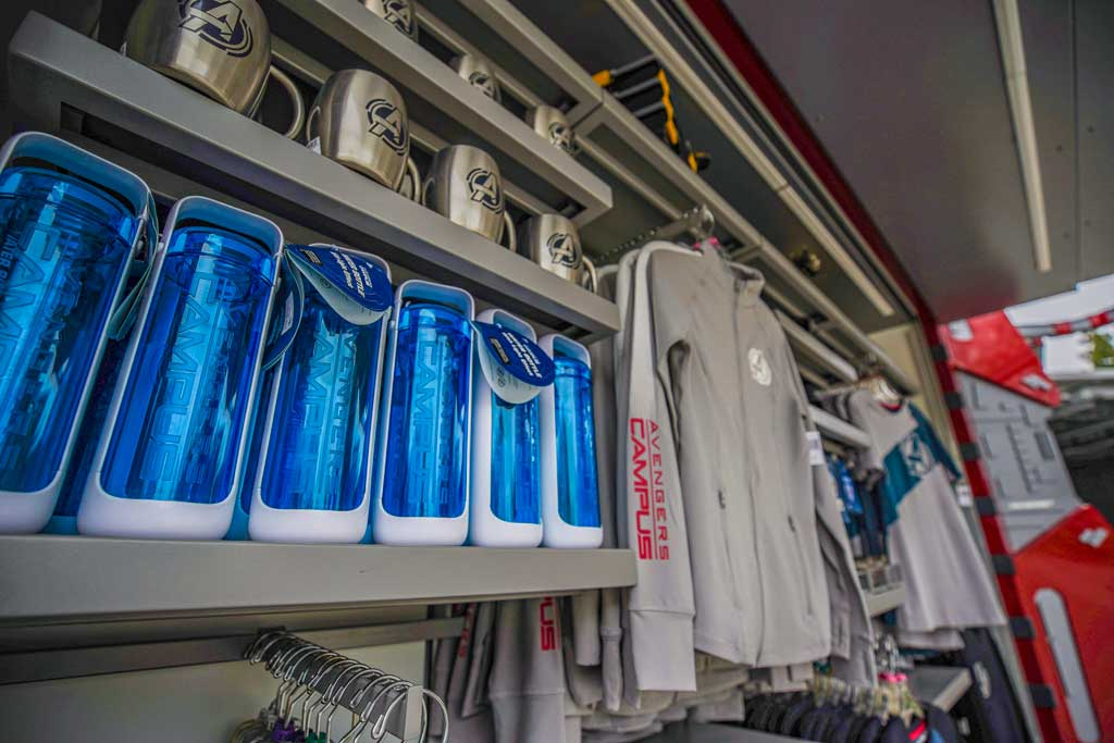 In Avengers Campus at Disney California Adventure Park in Anaheim, California, families can find all the gear they need to train alongside their favorite Super Heroes. Campus Supply Pod carries an assortment of attire featuring the Avengers Campus logo and other gear including Avengers Campus t-shirts, a fleece hoodie and even a deluxe figurine set featuring some favorite Avengers. (Christian Thompson/Disneyland Resort)