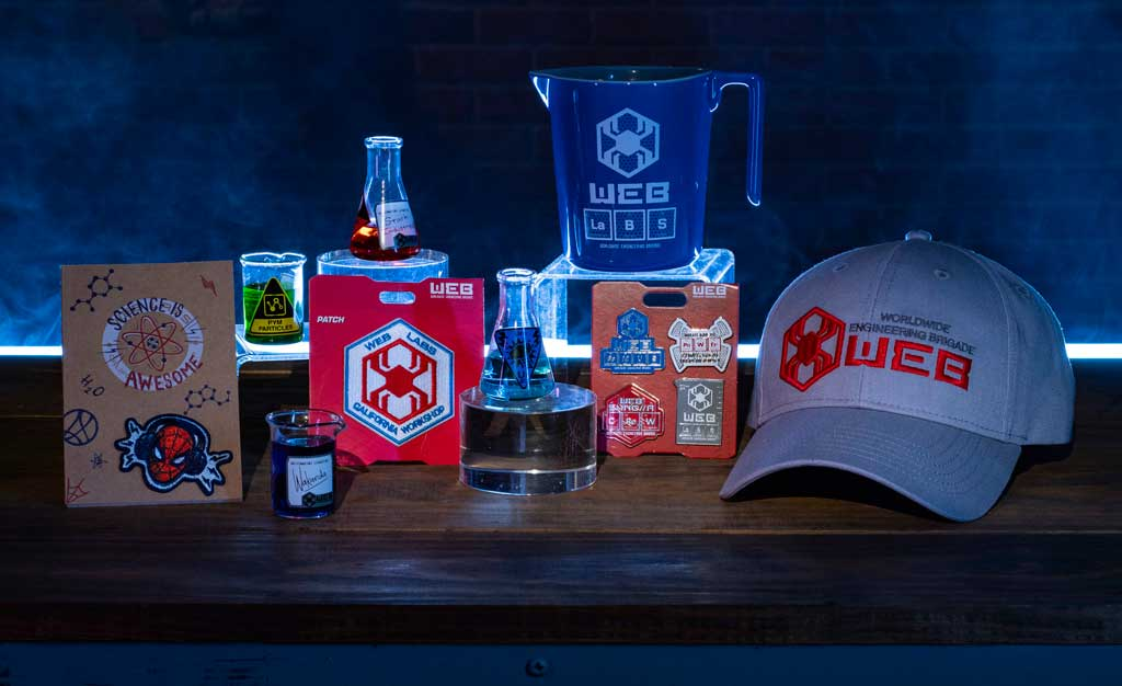 In Avengers Campus at Disney California Adventure Park in Anaheim, California, guests can commemorate their successful recruitment with a variety of household and novelty items including beaker-inspired mugs, toothpick holders, notepads, trading pins and patches. (David Roark/Disneyland Resort)