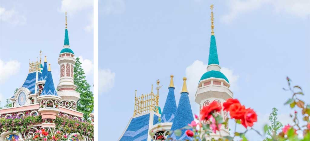 """Just like the real Castle, the castle model in the """"Dream Garden"""" is crowned with a golden finial featuring a Chinese peony flower together with cascading stars, evoking the optimism that with belief and just a little magic, dreams really can come true."""