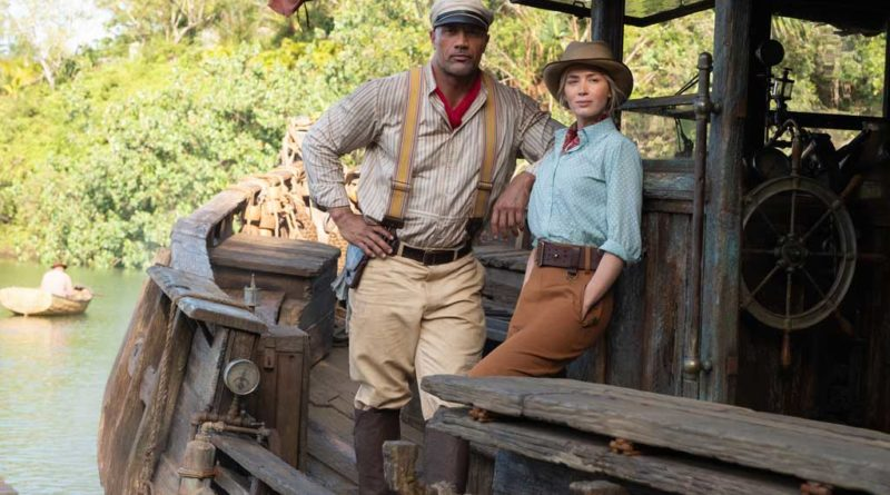 Dwayne Johnson as Frank and Emily Blunt as Lily in JUNGLE CRUISE. Photo by Frank Masi. © 2020 Disney Enterprises, Inc. All Rights Reserved.