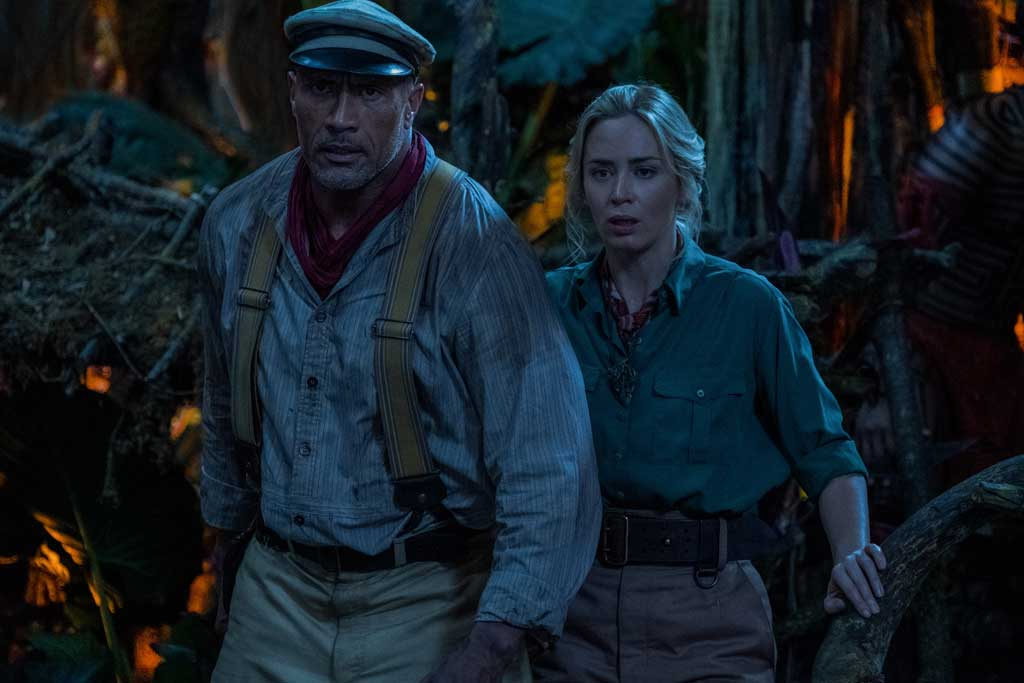 Dwayne Johnson is Frank Wolff and Emily Blunt is Lily Houghton in Disney's JUNGLE CRUISE. Photo by Frank Masi. © 2021 Disney Enterprises, Inc. All Rights Reserved.