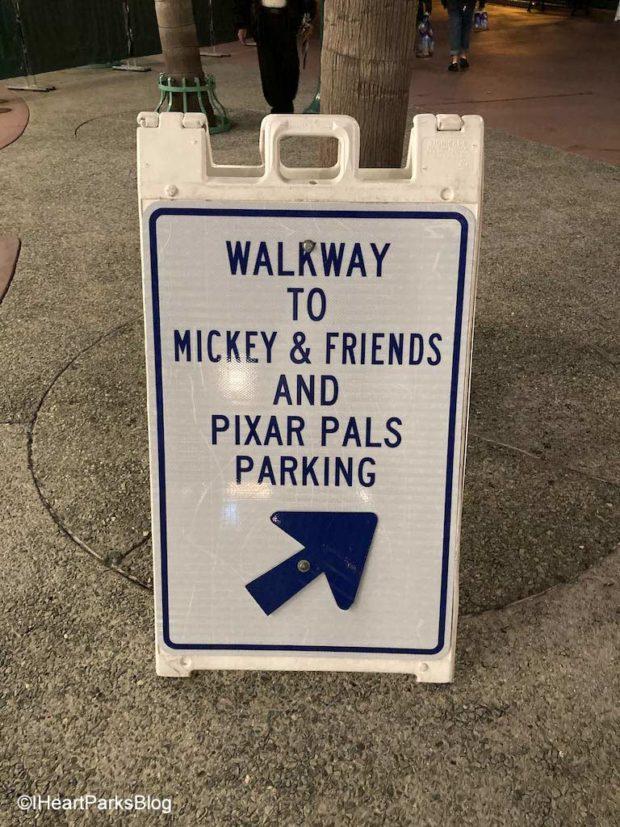 Disneyland tram walkway sign