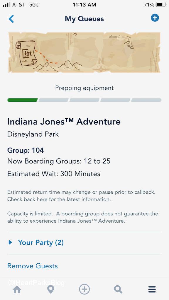 Indiana Jones Adventure virtual queue