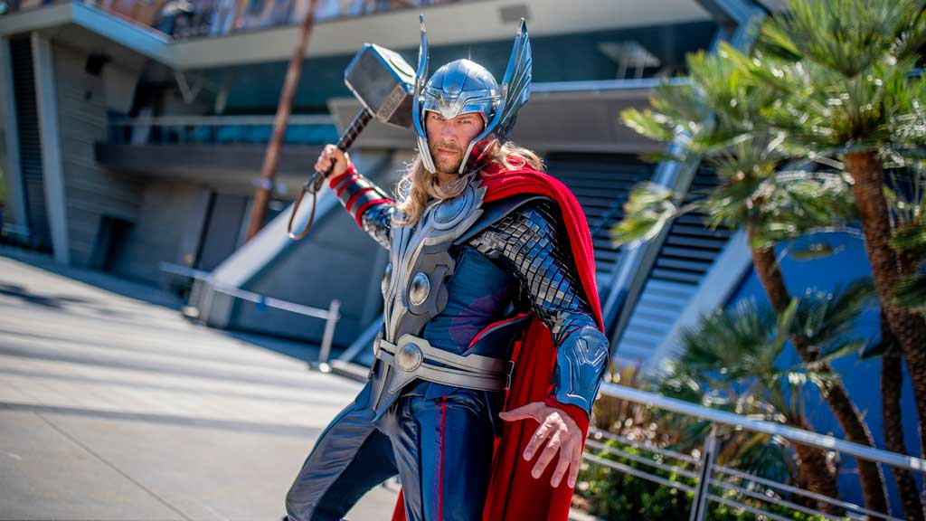 Thor, who crosses the Bifrost from Asgard to appear at Avengers Campus at Disney California Adventure Park, encounters recruits with his mythic hammer, Mjolnir, in hand. At Avengers Campus, the new land inside Disney California Adventure Park, Super Heroes from across time and space have arrived and are dedicated to training the next generation of Super Heroes. (Christian Thompson/Disneyland Resort)