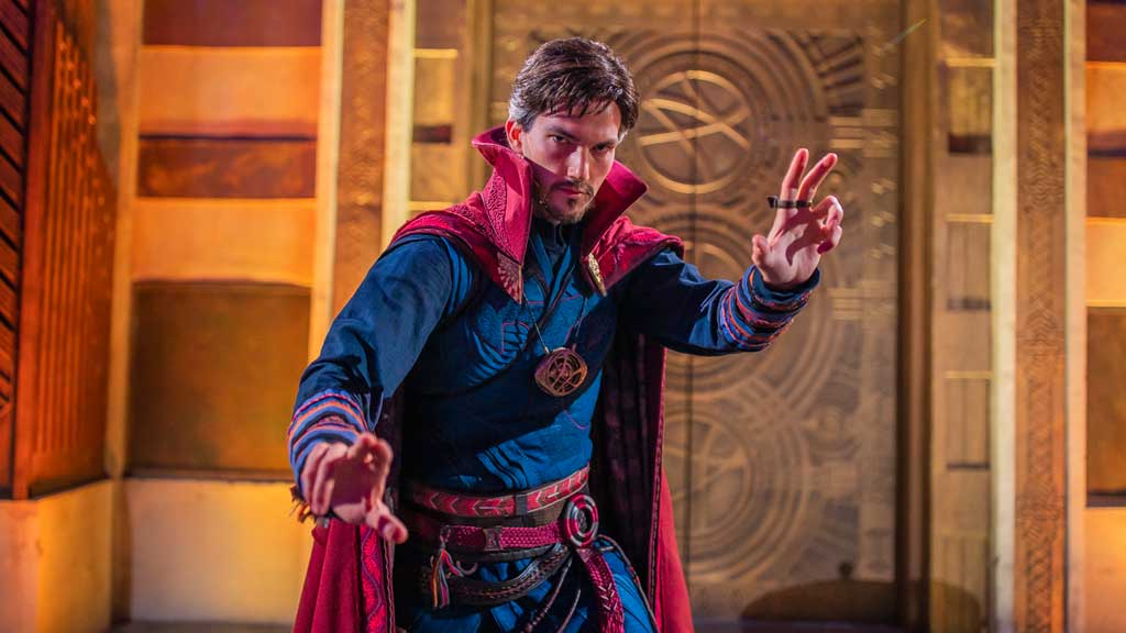 At the site of the Ancient Sanctum, deep in the heart of Avengers Campus at Disney California Adventure Park, guests may encounter the Master of Mystic Arts himself, Doctor Strange. From time to time, Doctor Strange steps forth through an inter-dimensional portal to engage guests with illusions, sorcery and tales to astonish from his collection of mysterious relics. From time to time, he may even bring other heroes as he opens the portals. At night, the Ancient Sanctum glows even more vividly with majestic colors and lights, pulsating with mystic energy. (Christian Thompson/Disneyland Resort)