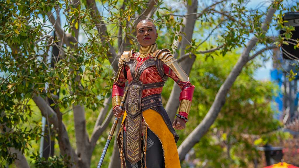 Okoye, the leader of the Dora Milaje, debuts for the first time in a Disney park at Avengers Campus at Disney California Adventure Park. Recruits at Avengers Campus are invited to join Black PantherÕs loyal bodyguards, the Dora Milaje, in training sessions lead by Okoye in the courtyard near Avengers Headquarters. Here, they may learn wisdom from Wakanda and participate in a series of strength and skill exercises. (Christian Thompson/Disneyland Resort)