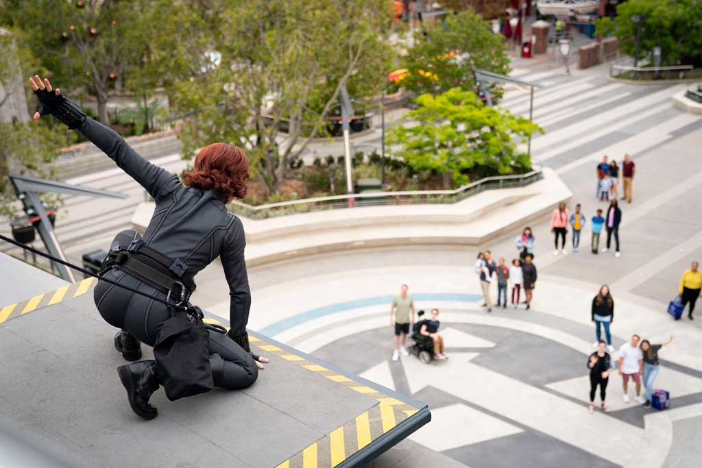 When trouble ensues at Avengers Campus at Disney California Adventure Park, out of nowhere Earth's Mightiest Heroes arrive to save the day. Guests may see Black Widow, Black Panther or Captain America spring into action, heading off the threat from these foes. (Ty Popko/Disneyland Resort)