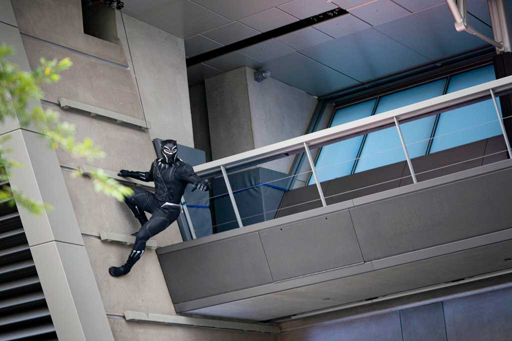 When trouble ensues at Avengers Campus at Disney California Adventure Park, out of nowhere Earth's Mightiest Heroes arrive to save the day. Guests may see Black Panther, Black Widow or Captain America spring into action, heading off the threat from these foes. (Ty Popko/Disneyland Resort)