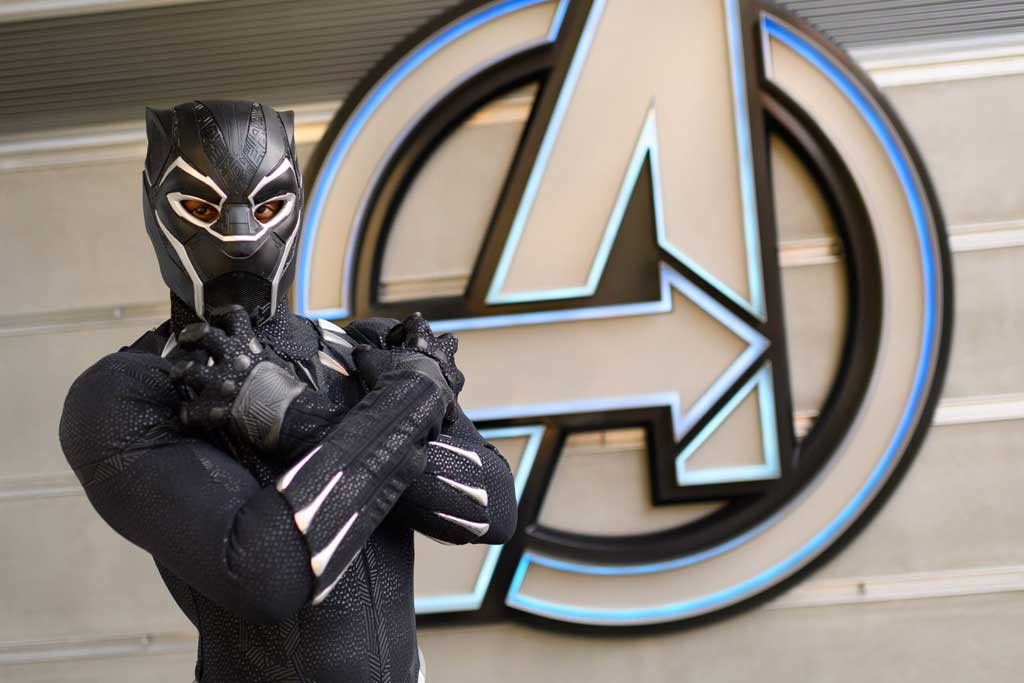 When trouble ensues at Avengers Campus at Disney California Adventure Park, out of nowhere Earth's Mightiest Heroes arrive to save the day. Guests may see Black Panther, Black Widow or Captain America spring into action, heading off the threat from these foes. (Richard Harbaugh/Disneyland Resort)