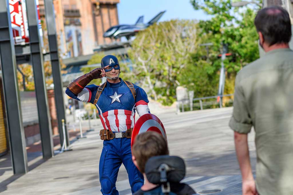 Captain America takes tours of duty throughout Avengers Campus, either on foot or on the Avengers deployment vehicle. Guests may even see some other heroes riding along, like Captain Marvel. At Avengers Campus, the new land inside Disney California Adventure Park, Super Heroes from across time and space have arrived and are dedicated to training the next generation of Super Heroes. (Richard Harbaugh/Disneyland Resort)