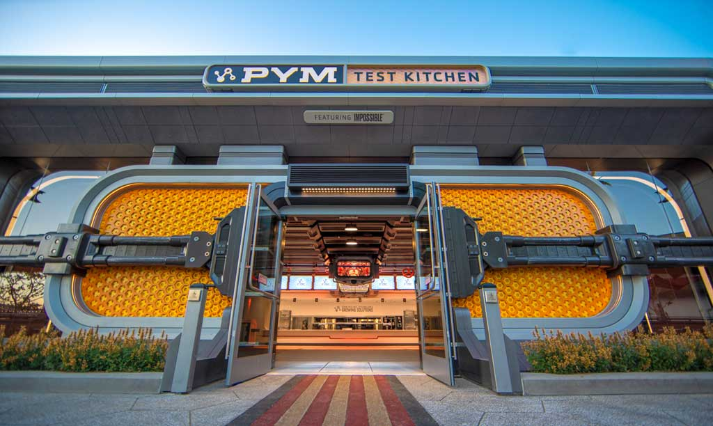 Opening June 4, 2021, Avengers Campus at Disney California Adventure Park in Anaheim, California, will offer dishes that are rich in both flavor and storytelling. Just as Ant-Man and The Wasp used shrinking and growing technology, Pym Test Kitchen, featuring ImpossibleTM Foods applies this science to innovative food. Pym Test Kitchen uses ÒPym ParticlesÓ to showcase normal foods at unusual scales, including shareable bites, inventive entrees and sweet treats. (Christian Thompson/Disneyland Resort)