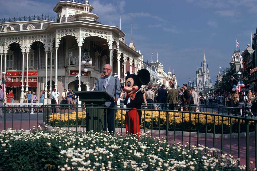 Roy O. Disney and Mickey Mouse at the Oct. 25, 1971, dedication ceremony for Walt Disney World Resort on Main Street, U.S.A., in Magic Kingdom Park in Lake Buena Vista, Fla. (Disney)