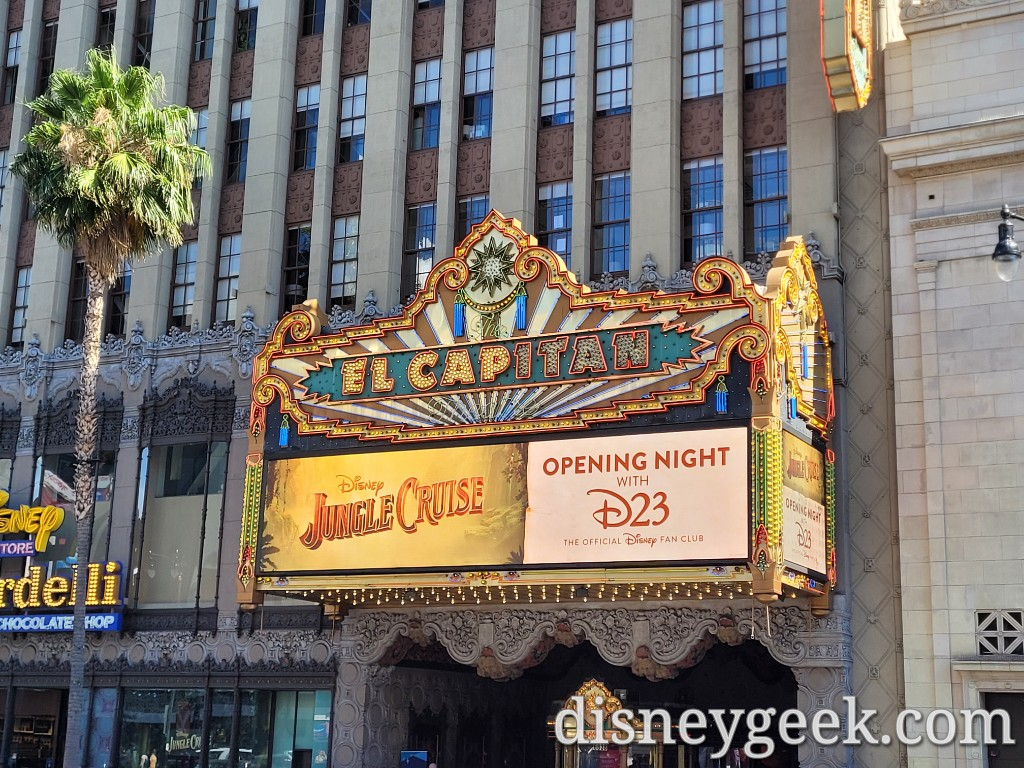 The marquee featuring the Jungle Cruise and D23 Event