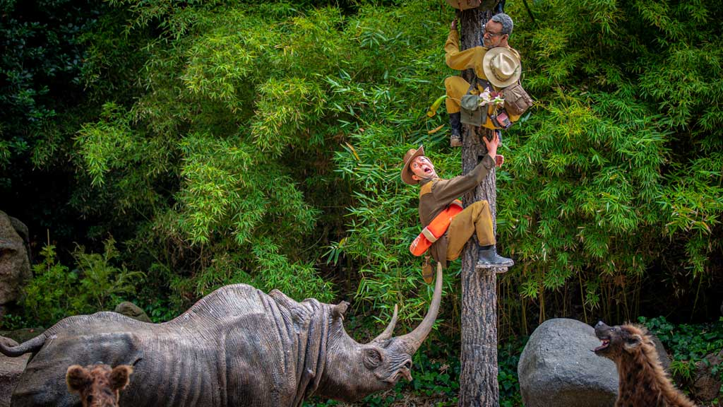 A safari of explorers from around the world finds itself up a tree after the journey goes awry on the world-famous Jungle Cruise at Disneyland Park. Officially reopening on July 16, 2021, Jungle Cruise will offer new adventures, an expanded storyline and more humor as skippers take guests on a tongue-in-cheek journey along some of the most remote rivers around the world. The new creative concept is original to Walt Disney Imagineering, just like the classic attraction itself. (Christian Thompson/Disneyland Resort)