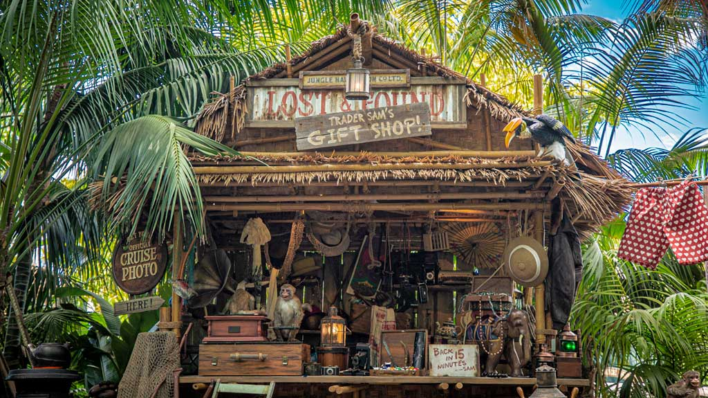 Alberta Falls asked her longtime friend Trader Sam to run the Lost & Found location, which now looks more like a Gift Shop at the world-famous Jungle Cruise at Disneyland Park. Officially reopening on July 16, 2021, Jungle Cruise will offer new adventures, an expanded storyline and more humor as skippers take guests on a tongue-in-cheek journey along some of the most remote rivers around the world. The new creative concept is original to Walt Disney Imagineering, just like the classic attraction itself. (Christian Thompson/Disneyland Resort)