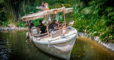 Chimpanzees have taken over the wrecked boat of a safari expedition on the world-famous Jungle Cruise at Disneyland Park. Officially reopening on July 16, 2021, Jungle Cruise will offer new adventures, an expanded storyline and more humor as skippers take guests on a tongue-in-cheek journey along some of the most remote rivers around the world. The new creative concept is original to Walt Disney Imagineering, just like the classic attraction itself. (Christian Thompson/Disneyland Resort)