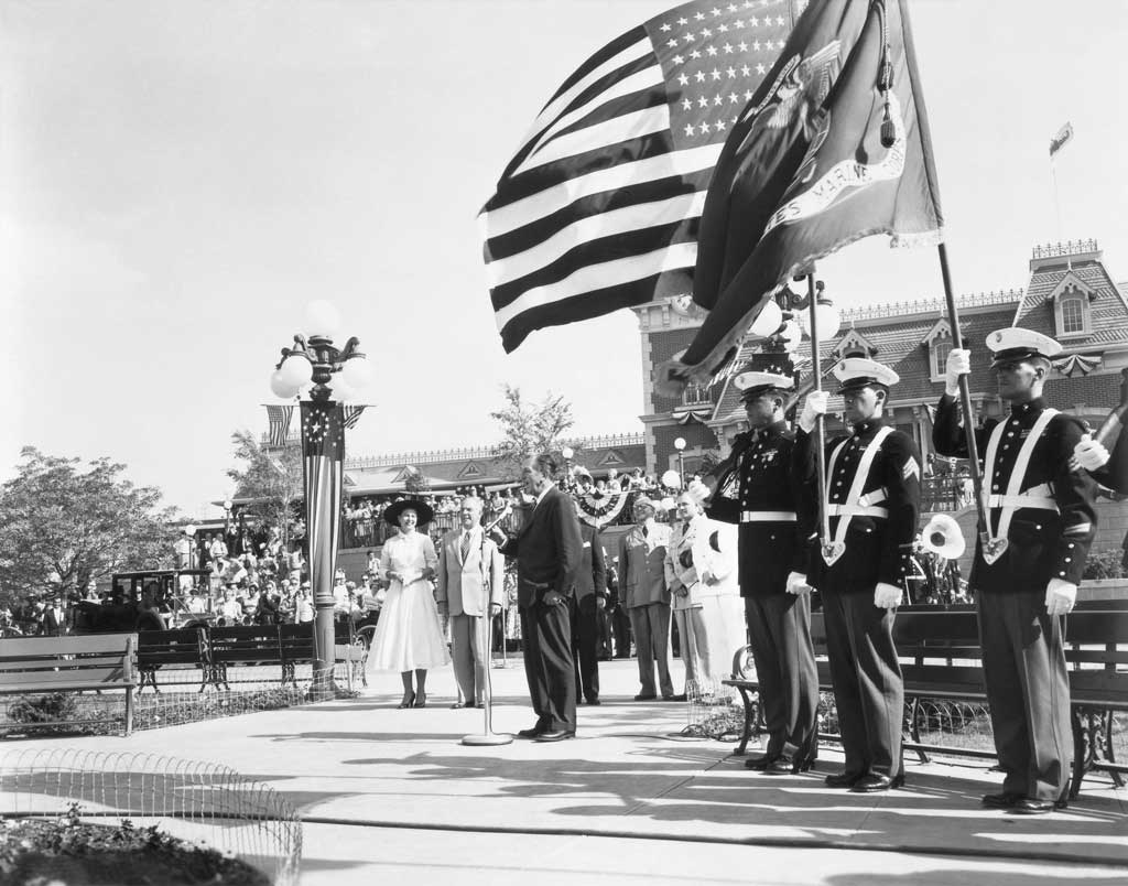 OPENING DAY DEDICATION (1955) -Ð Walt Disney reads the Disneyland dedication plaque before a national television audience; ÒTo all who come to this happy place - welcomeÉÓ